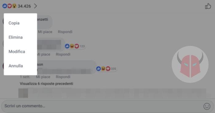 come eliminare commenti Facebook di testo