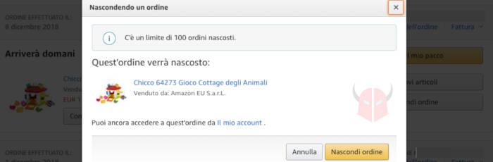 come nascondere ordine Amazon opzione Nascondi ordine