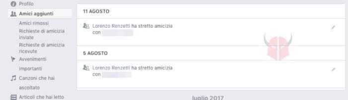 come vedere da quanto tempo sono amici su Facebook registro attività