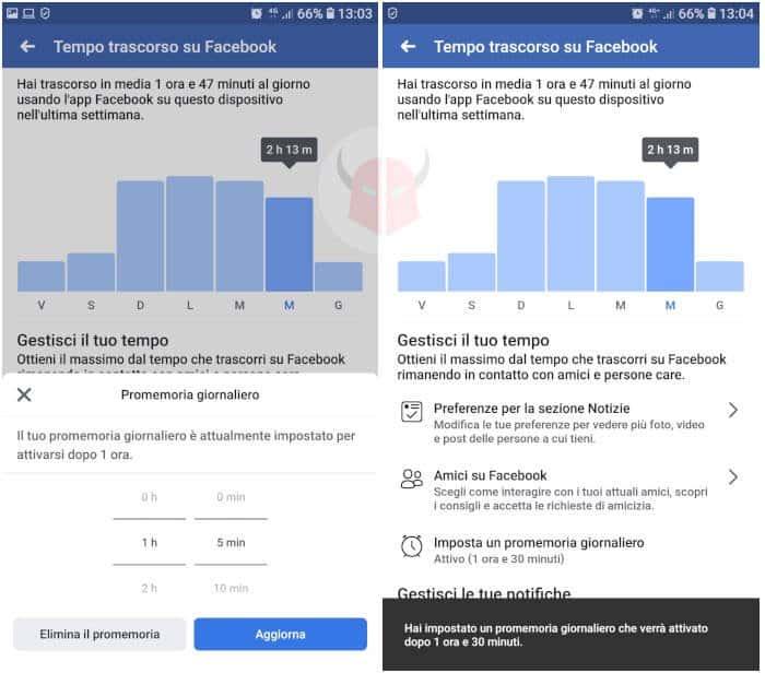 come vedere quanto tempo passi su Facebook promemoria