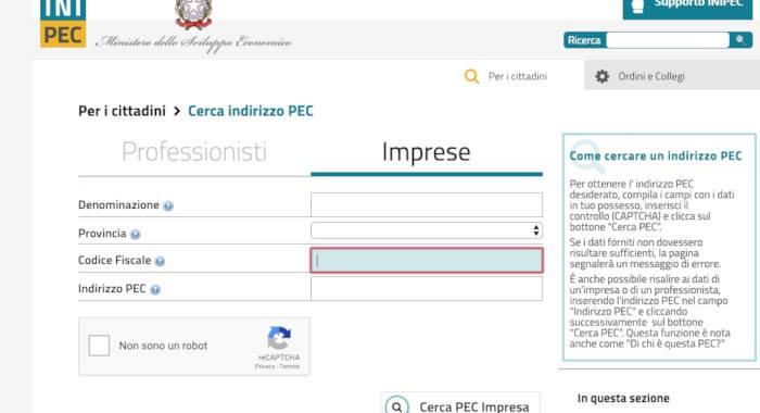 elenco pubblico PEC INI-PEC