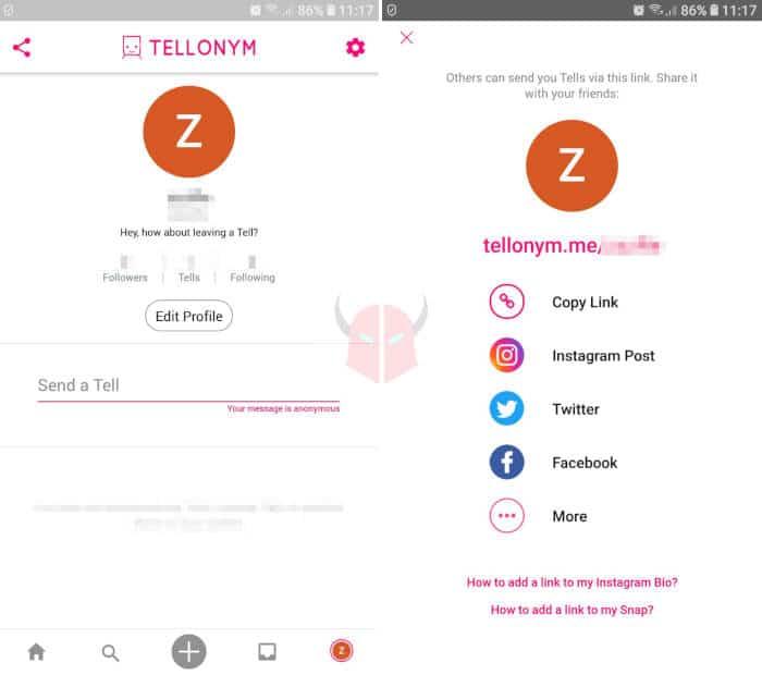come mettere Tellonym su Instagram smartphone