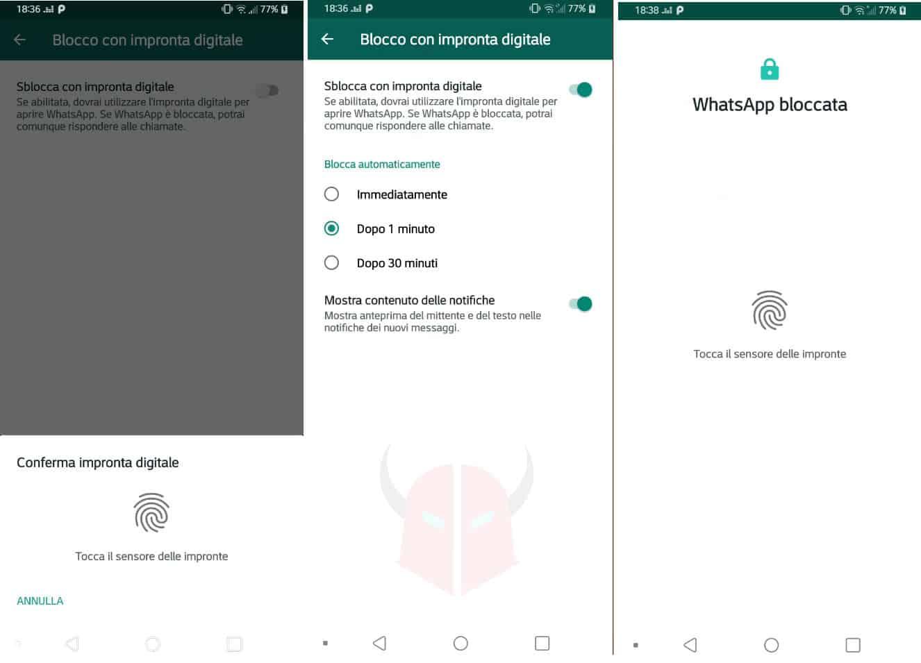 come mettere password WhatsApp opzione sblocca impronta digitale Android