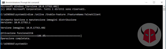come attivare Telnet su Windows 10 cmd