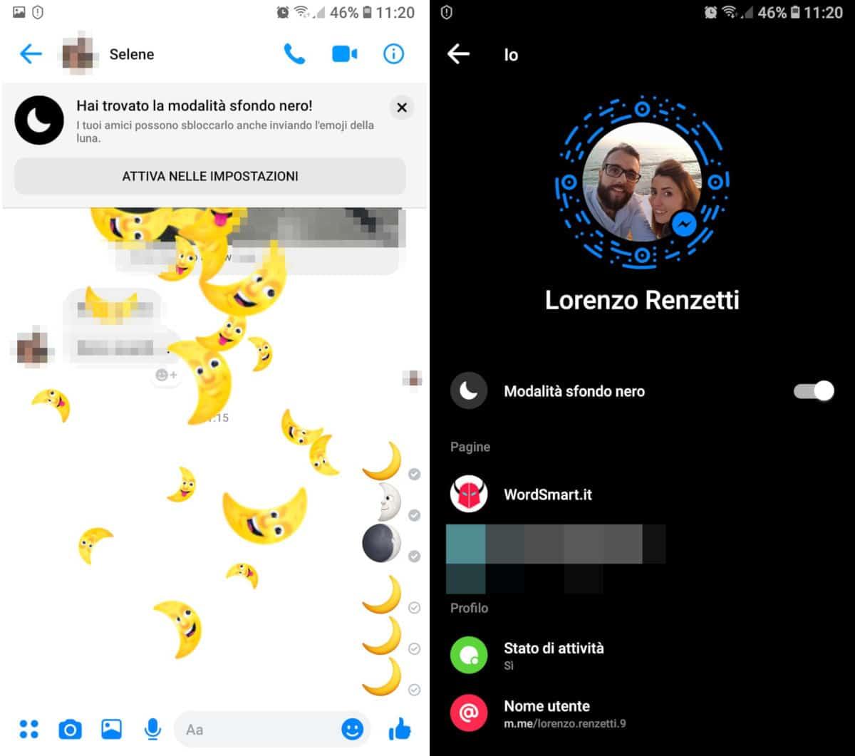 come attivare modalità scura su Facebook Messenger emoji luna