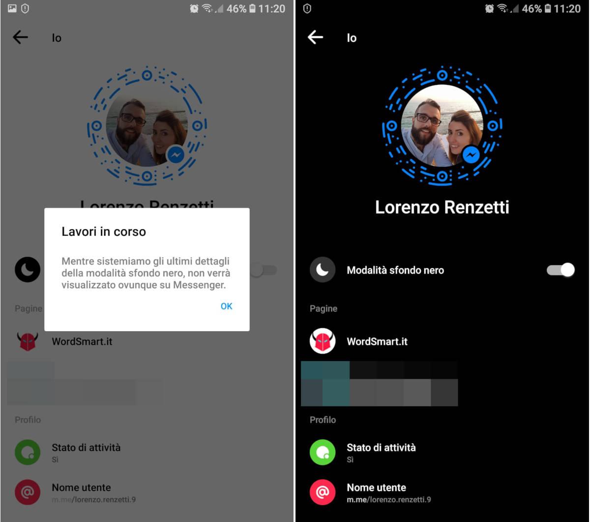 come attivare modalità scura su Facebook Messenger opzione dedicata