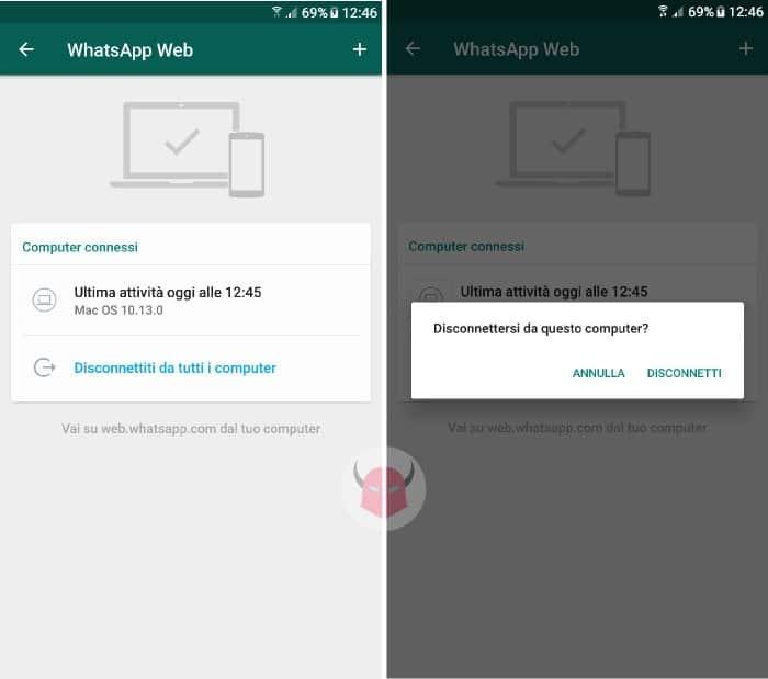 come bloccare WhatsApp Web disconnettere sessioni attive