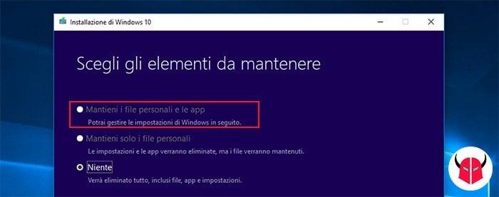 come fare installazione pulita Windows 10 mantenere dati e programmi