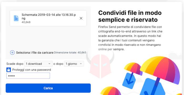 come funziona Firefox Send caricamento file