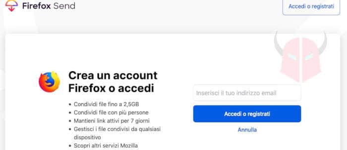 come funziona Firefox Send creazione account Firefox Sync