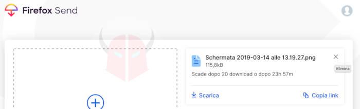 come funziona Firefox Send gestione ed eliminazione file