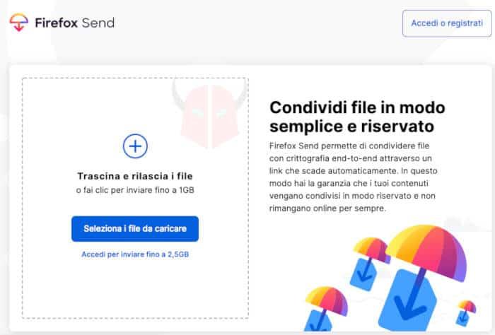 come funziona Firefox Send schermata iniziale