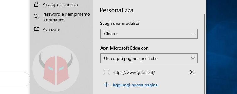 come impostare Google come pagina iniziale Windows 10