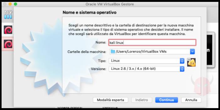 come installare Kali Linux macchina virtuale VirtualBox