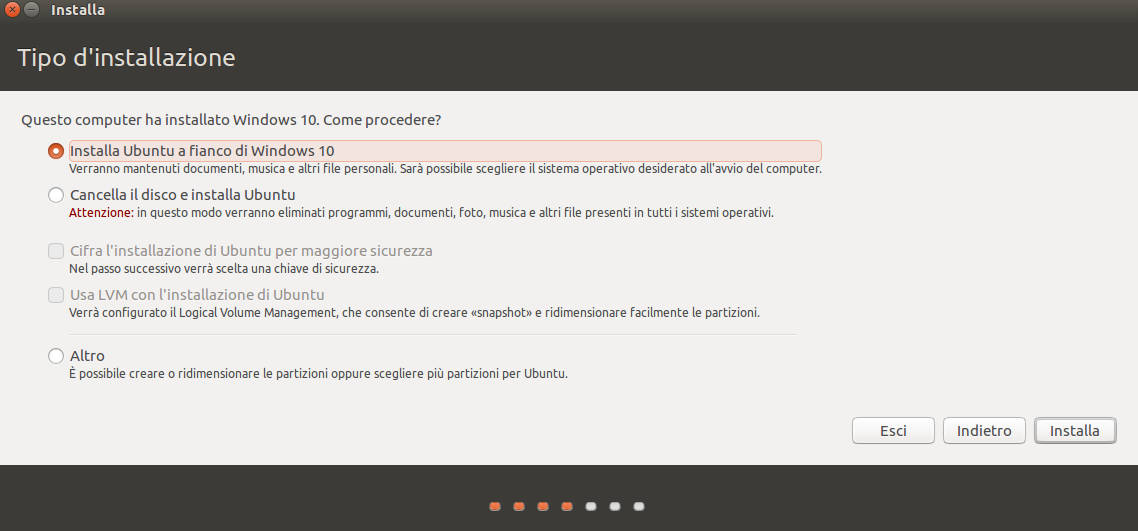 come installare Ubuntu in dual boot