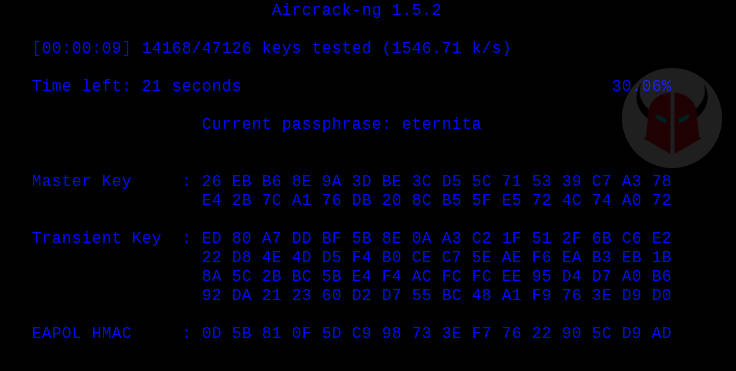come craccare una rete WiFi protetta airmon-ng password calcolata