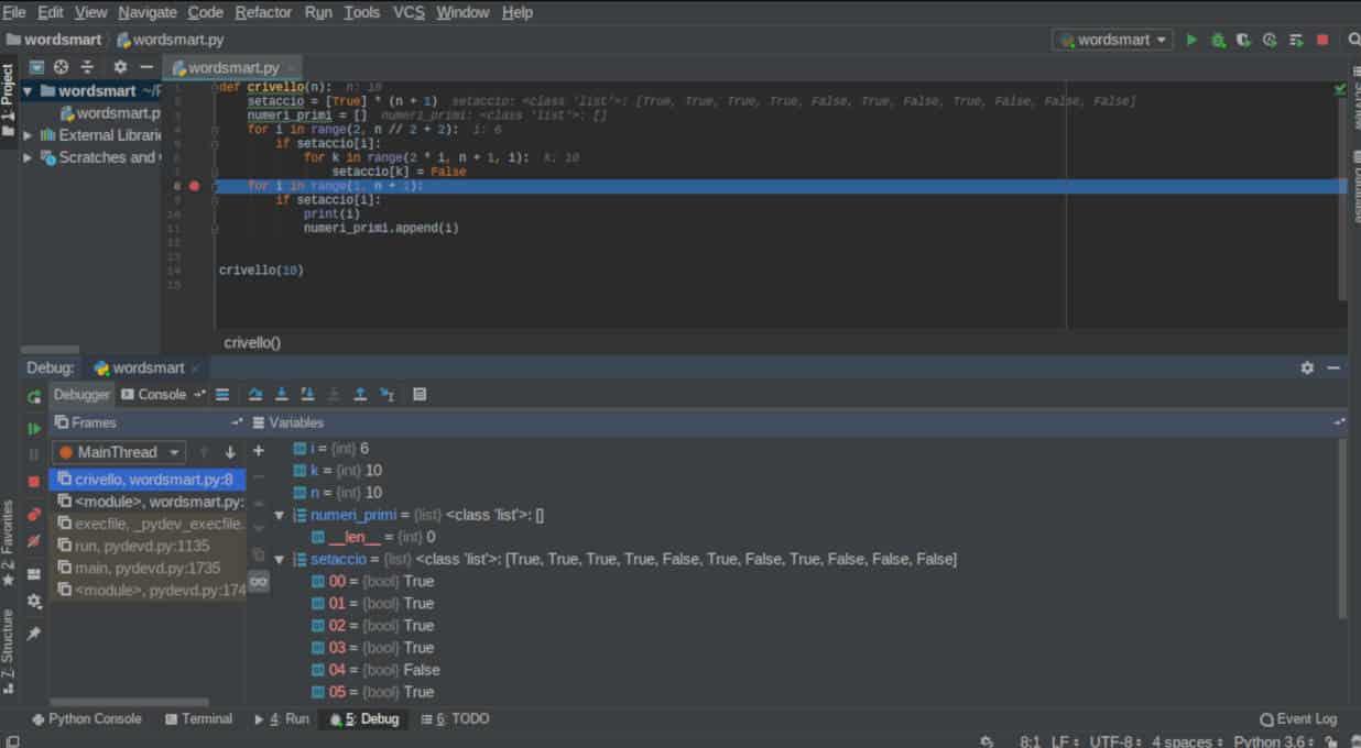 programmi per programmare in Python Pycharm numeri primi debug