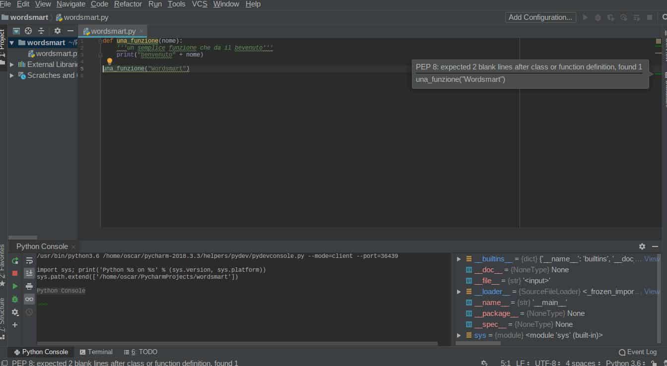 programmi per programmare in Python Pycharm print convenzioni