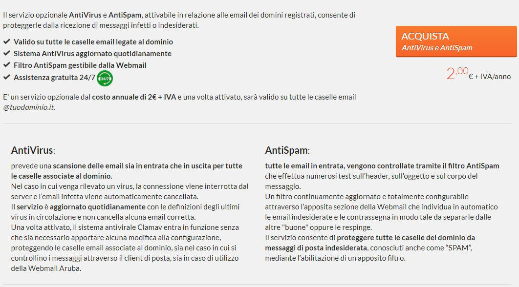 come bloccare le email indesiderate firewall antispam Aruba
