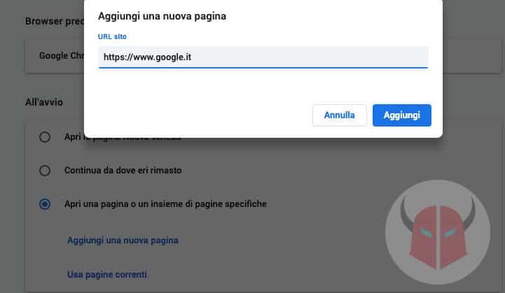come cambiare pagina iniziale Google Chrome