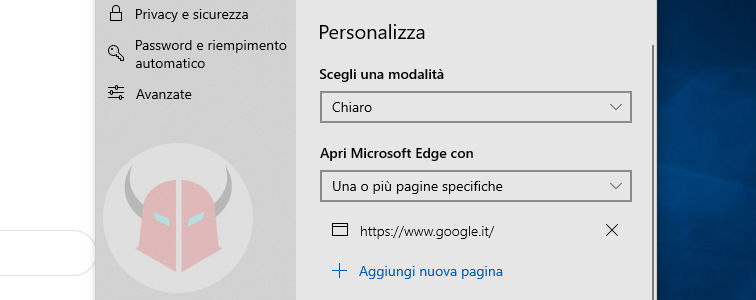 come cambiare pagina iniziale Microsoft Edge