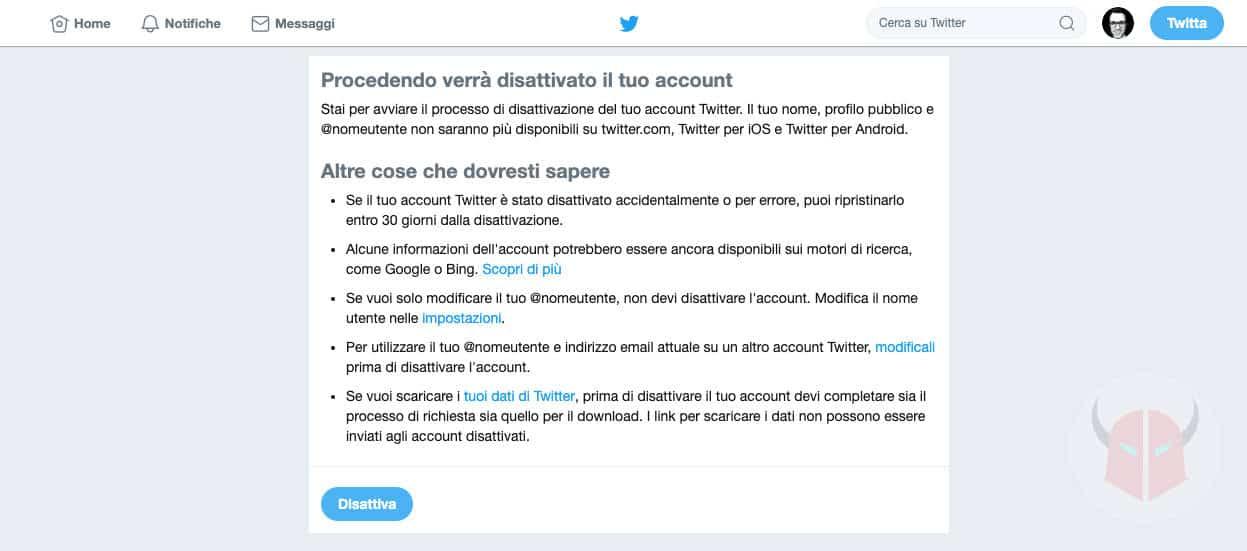 come cancellarsi da Twitter disattivazione account PC