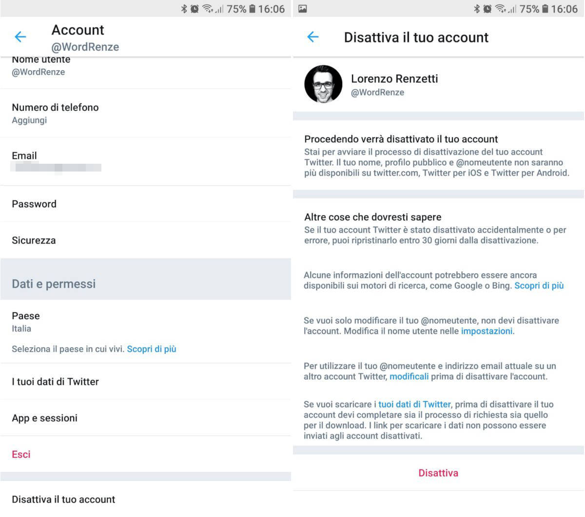 come cancellarsi da Twitter disattivazione account app iOS o Android