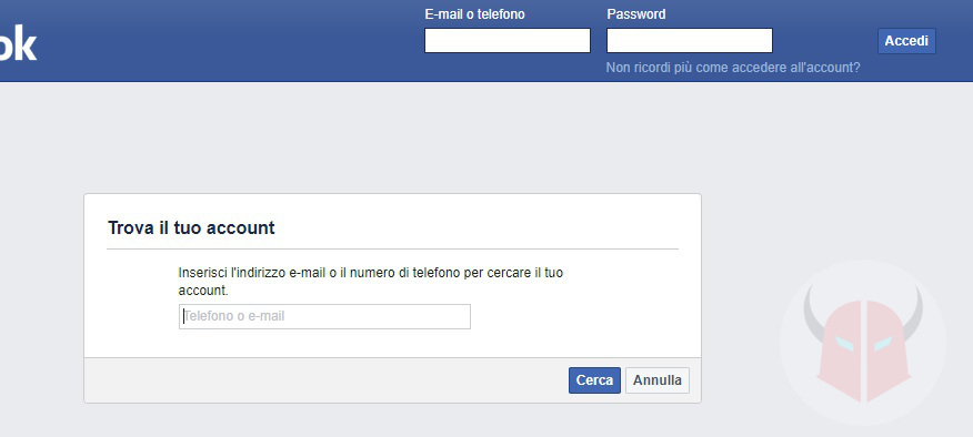 come contattare Facebook recupero password