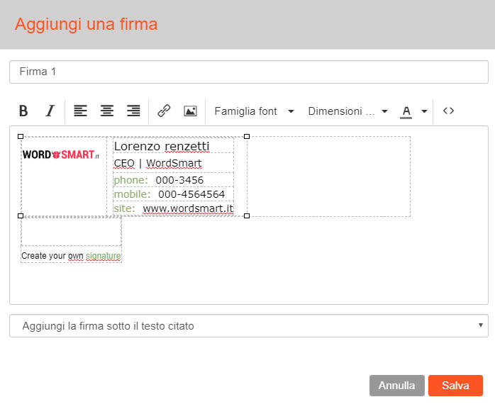 come inserire firma email Virgilio Mail
