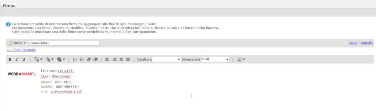 come inserire firma email Webmail Aruba PEC