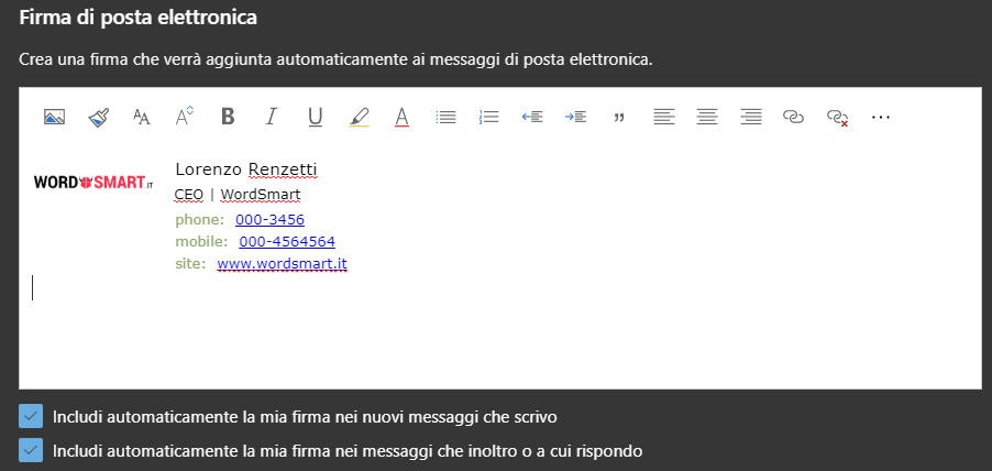 come inserire firma email Webmail Outlook firma personalizzata