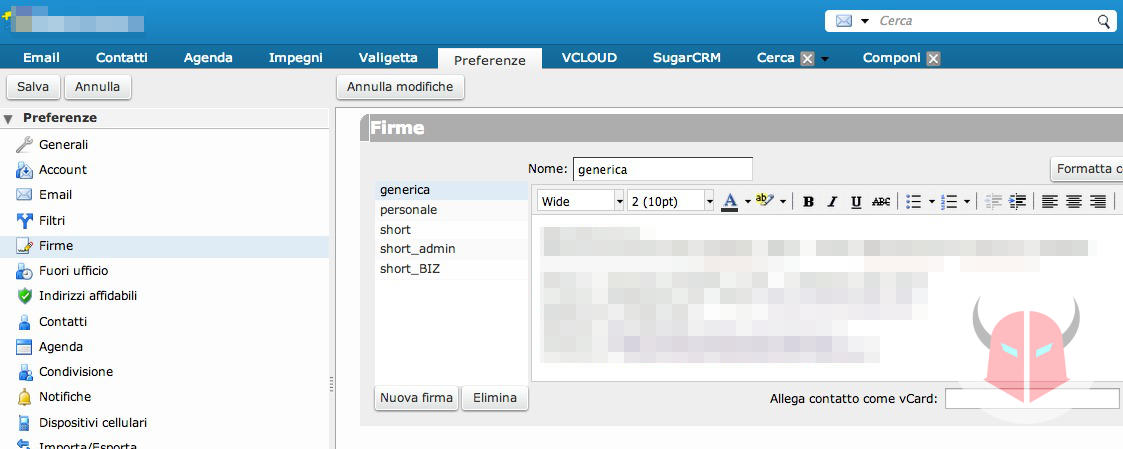 come inserire firma email Zimbra