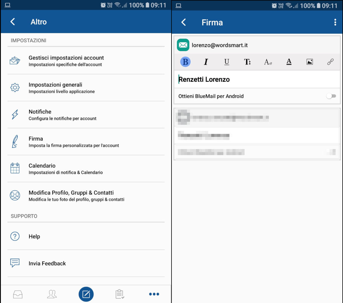 come inserire firma email nelle app per leggere la posta
