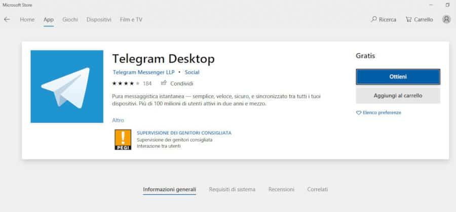 come installare Telegram su PC app Microsoft Store