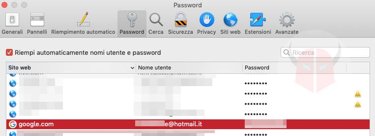 come recuperare password Gmail portachiavi Mac