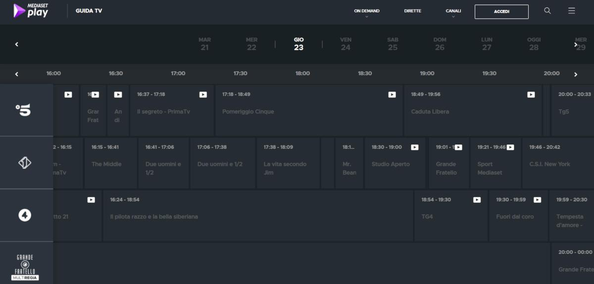 come rivedere i programmi Mediaset sito web Mediaset Play guida TV