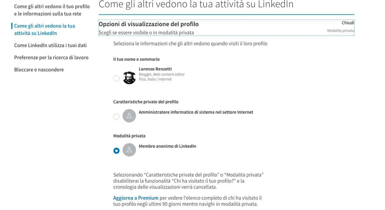 come usare LinkedIn modalità in incognito