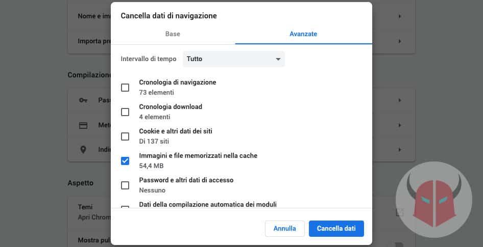 come aggiornare Google Chrome cache
