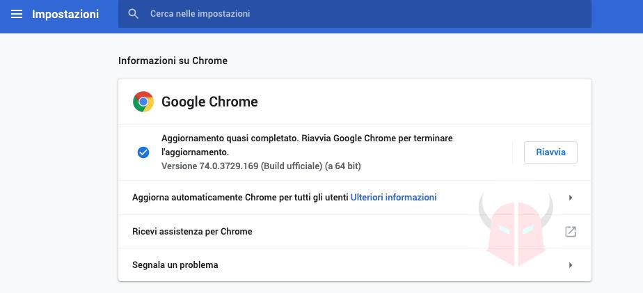 come aggiornare Google Chrome macOS