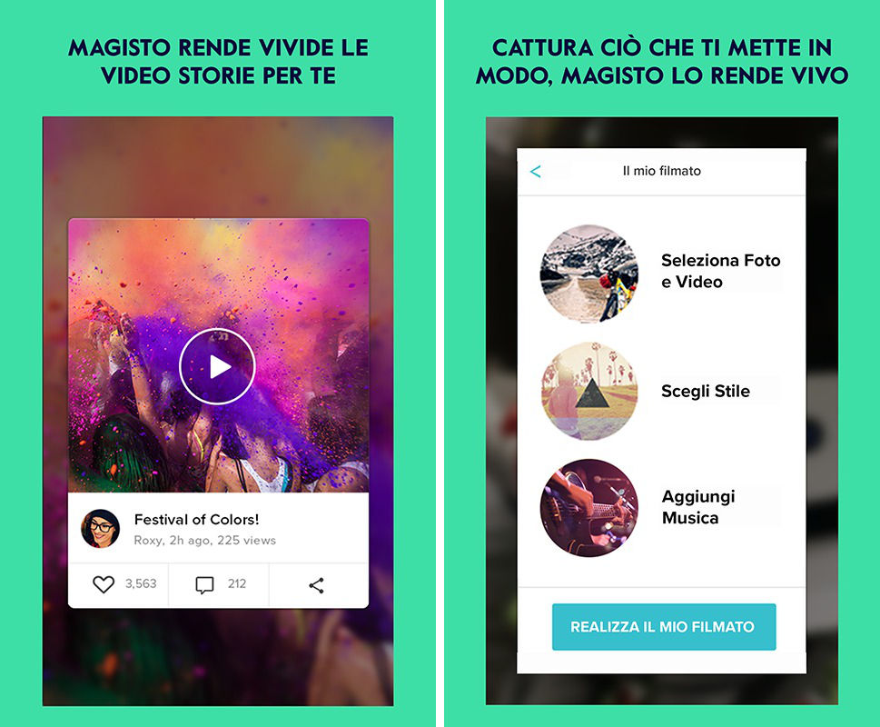 come montare un video app Magisto
