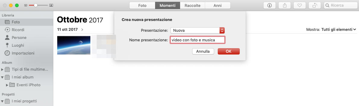 come montare un video con foto e musica Mac app Foto