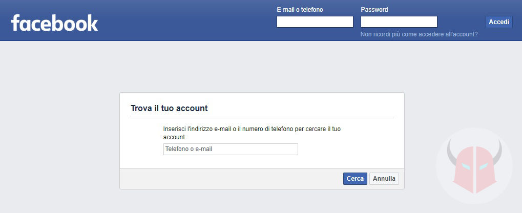 come recuperare account Facebook ripristino password