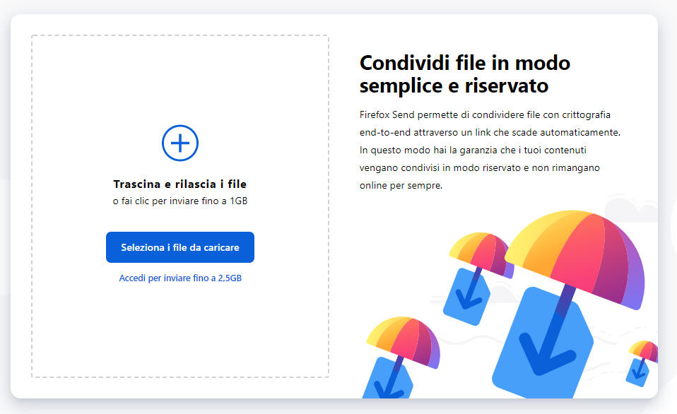 app per chat segrete Firefox Send