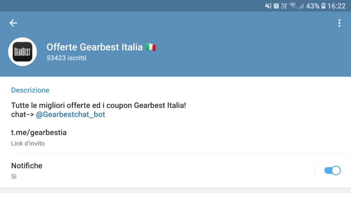 bot Telegram offerte Gearbest Italia