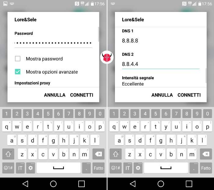 come cambiare DNS Google Android rete WiFi
