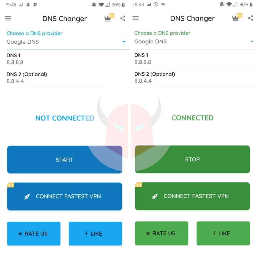 come cambiare DNS Google Android rete cellulare DNS Changer