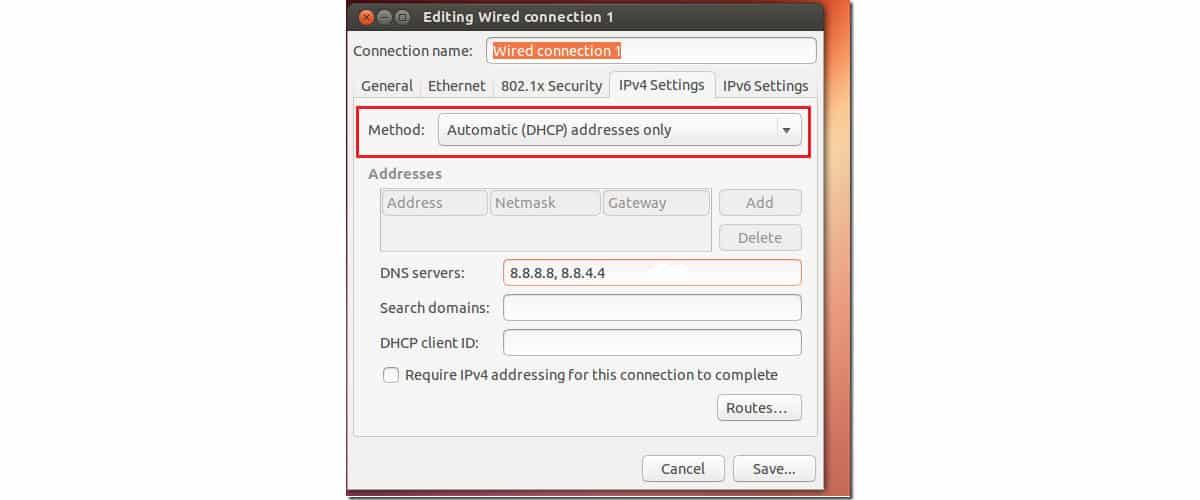 come cambiare DNS Google Ubuntu