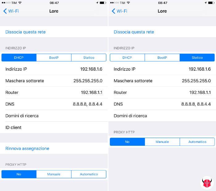 come cambiare DNS Google iOS