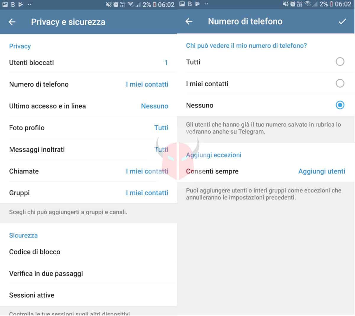 come nascondere il numero su Telegram impostazioni privacy