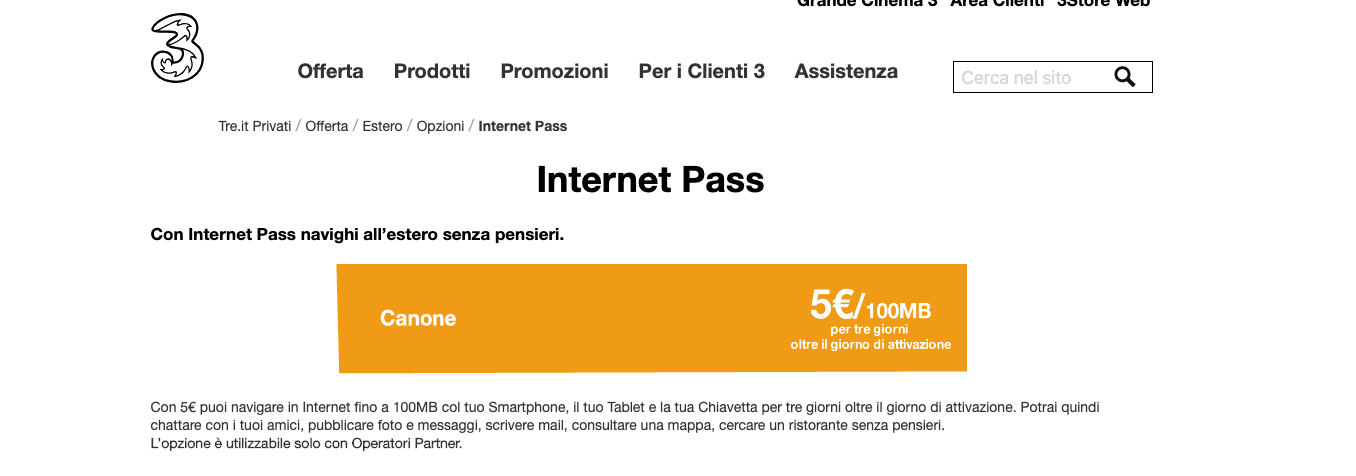 come navigare all'estero Tre Internet Pass